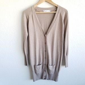 Zara Button Front Cardigan Long Sweater Pocket 758